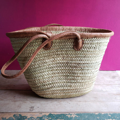 Long Handled Hand Woven Market Tote With Leather Straps - the-southern-magnolia-too