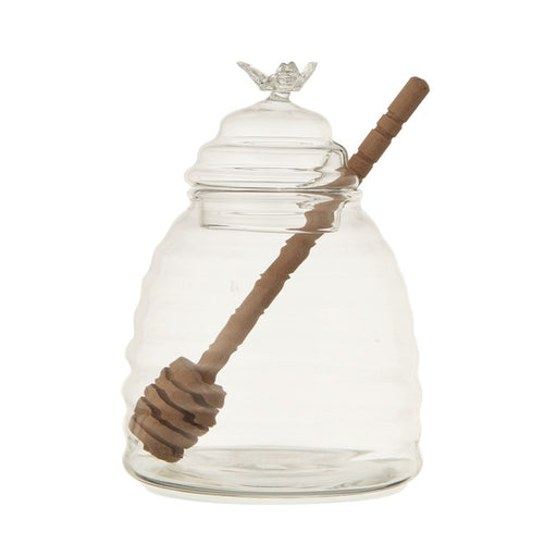 Glass Honey Jar with Wood Honey Dipper - the-southern-magnolia-too