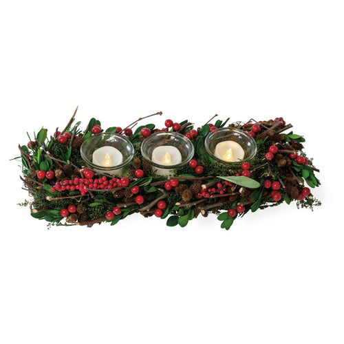 Red Berry Decorated Christmas Tealight Centerpiece - the-southern-magnolia-too