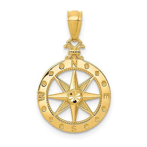Gold Diamond-Cut Polished Compass Pendant - the-southern-magnolia-too