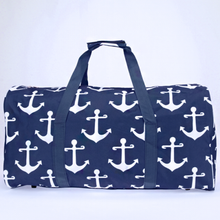 Load image into Gallery viewer, Navy Blue Anchor Large Duffle Bag - the-southern-magnolia-too