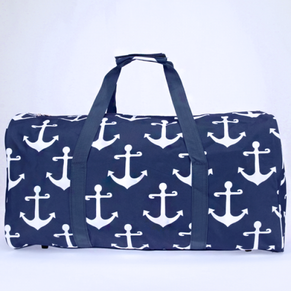 Navy Blue Anchor Large Duffle Bag - the-southern-magnolia-too