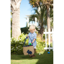 Load image into Gallery viewer, Navy Burlap Bunny Bucket Basket - the-southern-magnolia-too