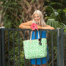 Load image into Gallery viewer, Tiki Hayden Green Greek Key Pattern Tote - the-southern-magnolia-too