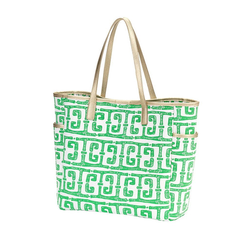 Tiki Hayden Green Greek Key Pattern Tote - the-southern-magnolia-too