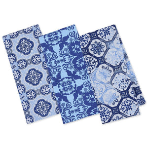 Porto Blue Printed Dishtowels Set of 3 - the-southern-magnolia-too