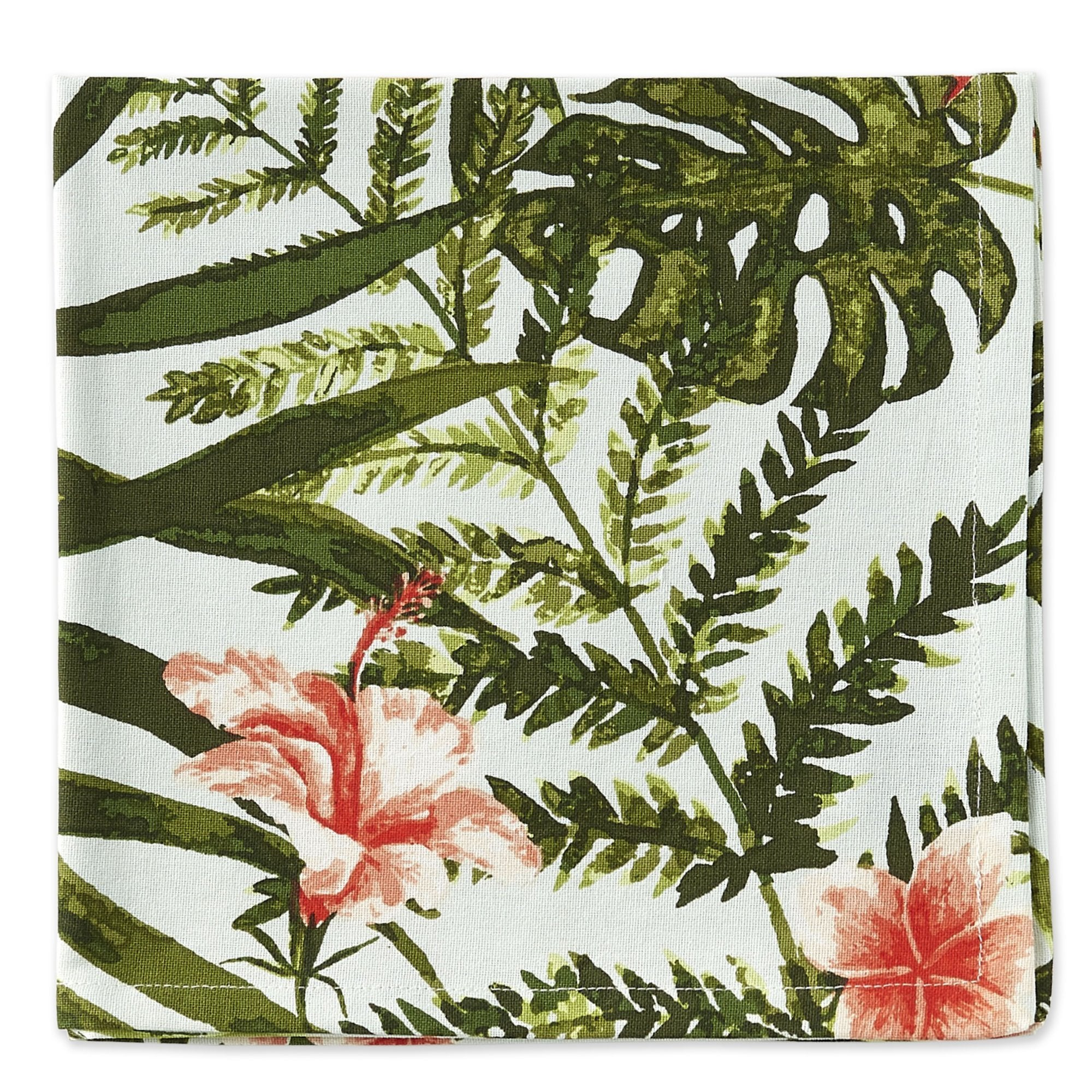 Lush Island Floral and Palm Tropical Printed Napkin Set - the-southern-magnolia-too