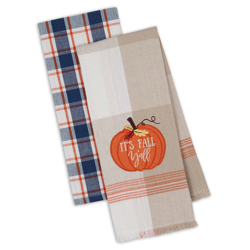 It's Fall Y'all Autumn Farmhouse Plaid Dishtowel - the-southern-magnolia-too
