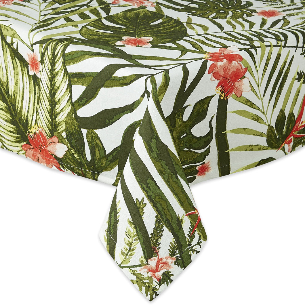 Lush Island Floral and Palm Tropical Printed Tablecloth - the-southern-magnolia-too