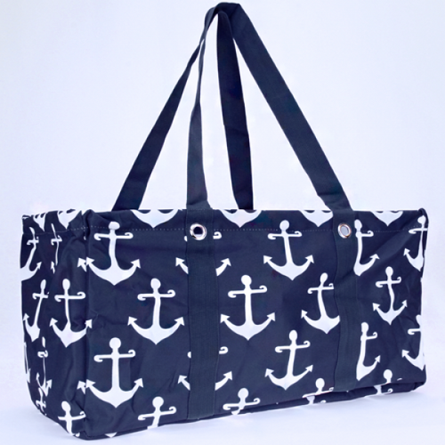 Navy Blue and White Anchor Trunk Grocery Organizer Bag - the-southern-magnolia-too