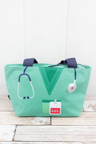 Mint Green Scrub Organizer Lunch Tote Bag - the-southern-magnolia-too