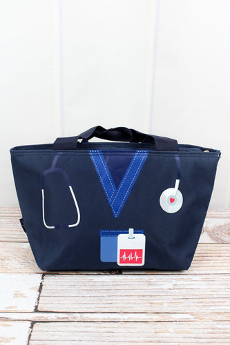 Navy Blue Scrub Organizer Lunch Tote Bag - the-southern-magnolia-too
