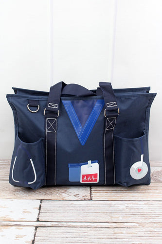 Navy Scrub Organizer Utility Tote Bag - the-southern-magnolia-too