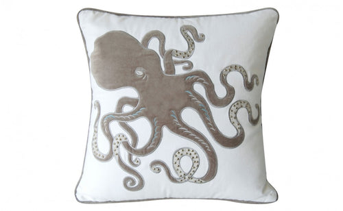 Gray and White Sunbrella(R) Octopus Pillow - the-southern-magnolia-too