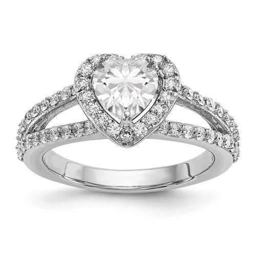 White Gold Diamond Wedding Band Engagement Heart - the-southern-magnolia-too