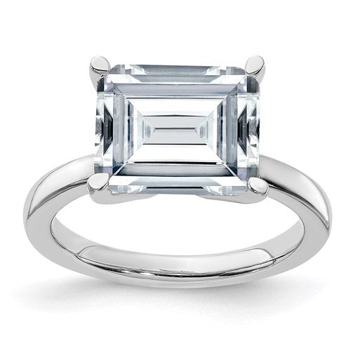 Emerald Cut Moissanite Solitaire Engagement Ring - the-southern-magnolia-too