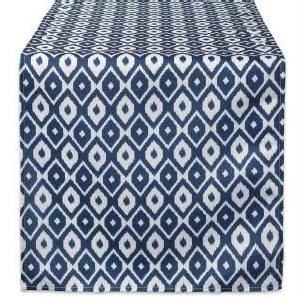 Ikat Blue and White Outdoor Table Runner - the-southern-magnolia-too