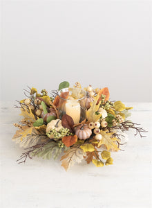 Fall Leaves and Pumpkin Centerpiece - the-southern-magnolia-too