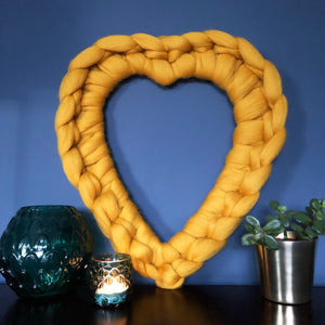 Large chunky merino heart wreath wall decor