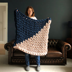 It Takes Two colour block chunky knit blanket / throw made to order