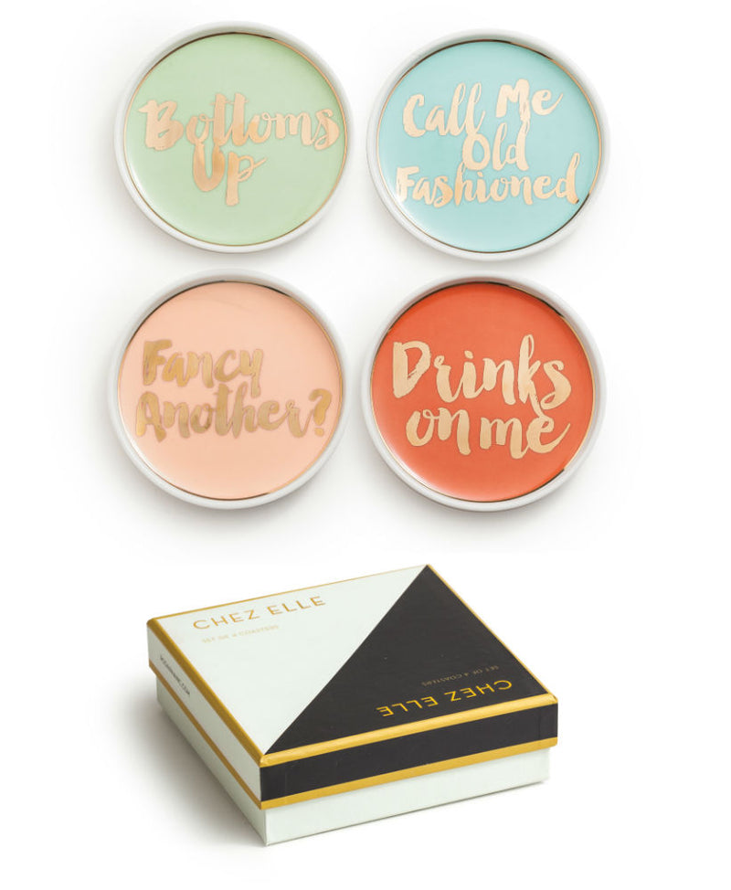"Set de 4 posavasos ""Bottoms up, Drinks on me, Fancy another?, Call me old fashioned"""