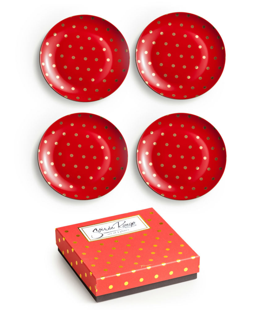 "Set de 4 platos ""RED DOT"""