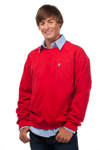 Classic Red Signature Embroidered Fleece Crew Neck - Unisex