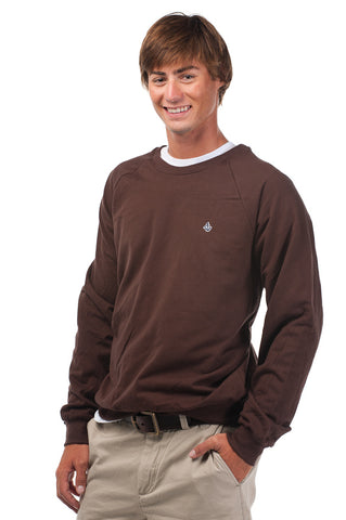 Chocolate Brown Signature Embroidered Fleece Crew Neck - Unisex