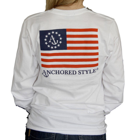 Anchored Ensign white long sleeve tee by Anchored Style
