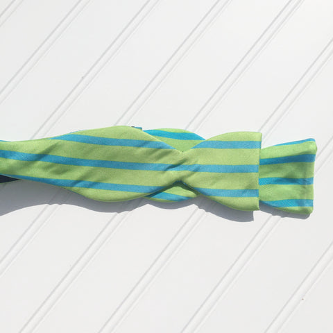 Lime Green and Turquoise Sailor Stripe Bow Tie