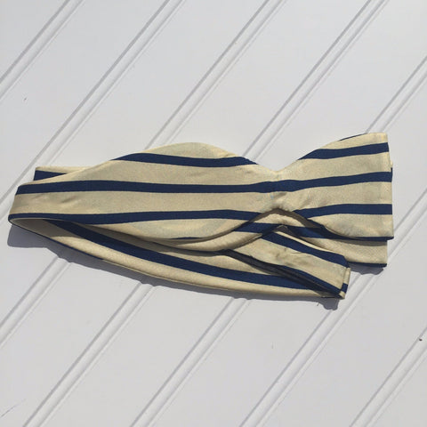 Cream and Navy Sailor Stripe Bow Tie