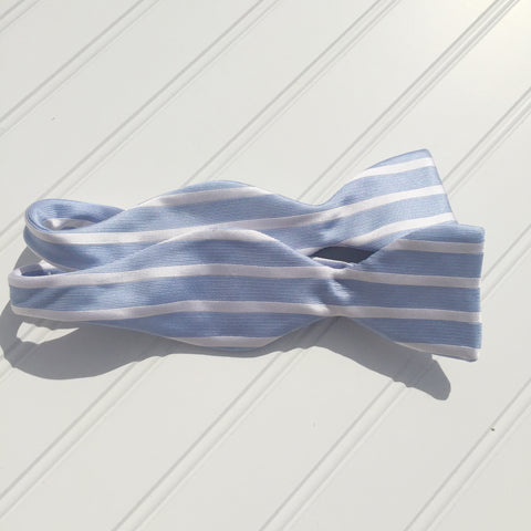 Carolina Blue and White Sailor Stripe Bow Tie