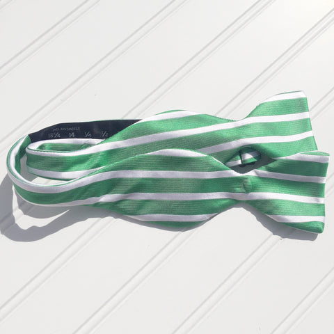 Green and White Sailor Stripe Bow Tie