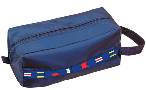Navy nylon dopp kit with signal flag ribbon detail