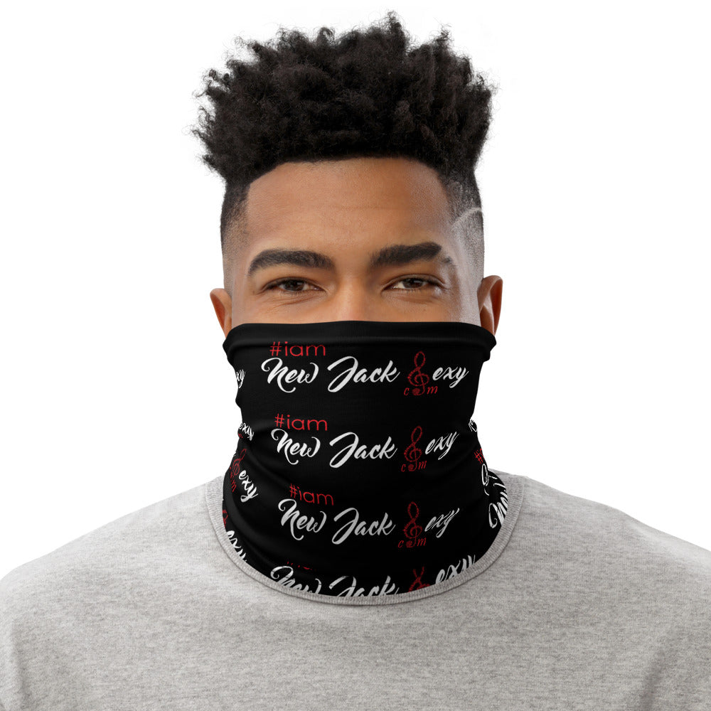 i am New Jack Sexy Face Covering | Neck Gaiter Black with White and Red Letter