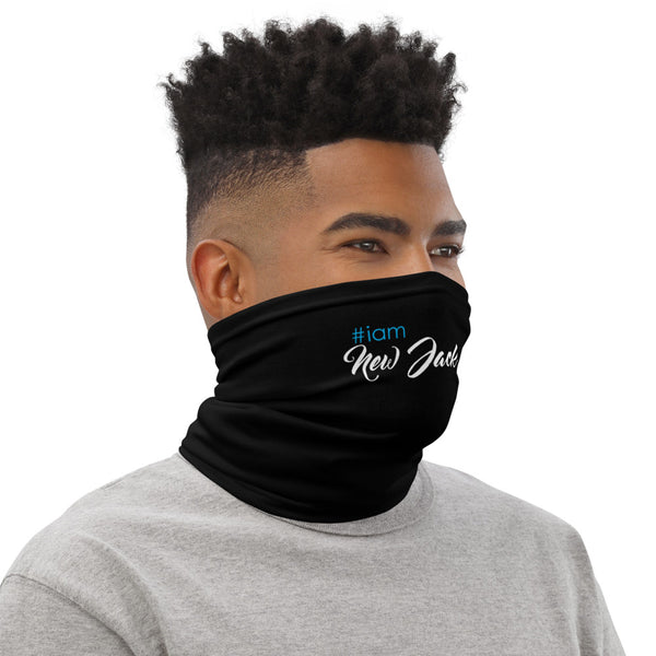 i am New Jack Sexy Face Covering | Neck Gaiter Black with White and Blue Letters