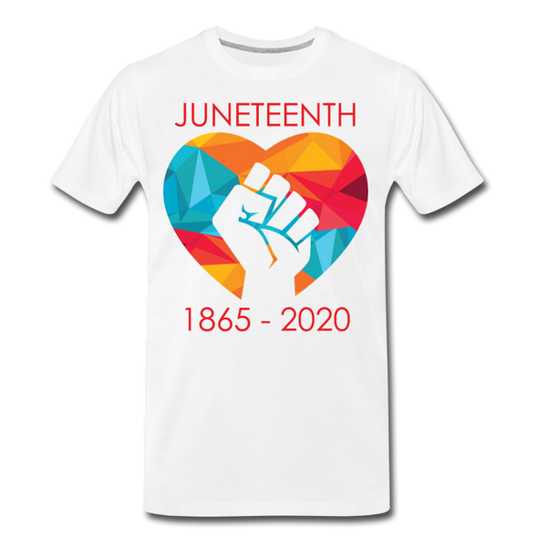 Juneteenth Fist  Heart Premium T-Shirt **LIMITED** - white