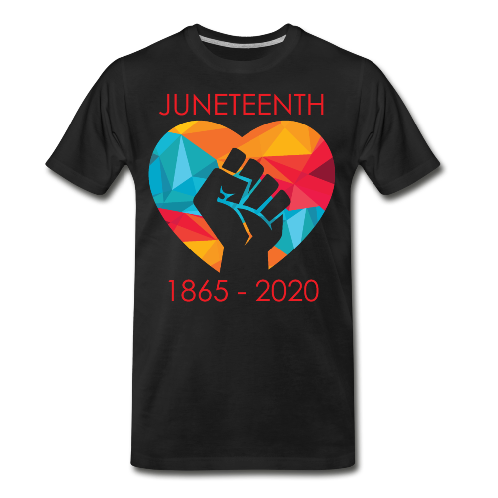Juneteenth Fist  Heart Premium T-Shirt **LIMITED** - black