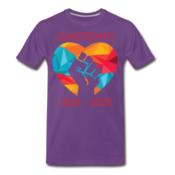 Juneteenth Fist  Heart Premium T-Shirt **LIMITED** - purple
