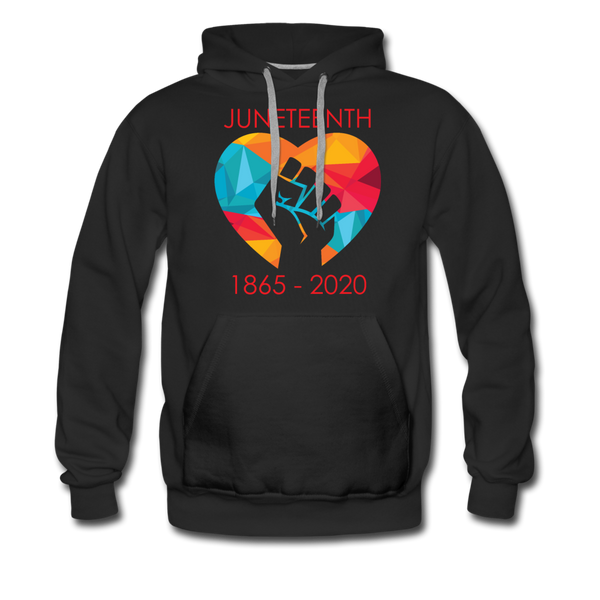 Juneteenth Heart Fist Men's Premium Hoodie **LIMITED EDITION** - black