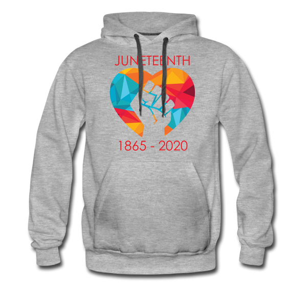 Juneteenth Heart Fist Men's Premium Hoodie **LIMITED EDITION** - heather gray