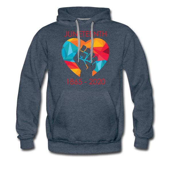 Juneteenth Heart Fist Men's Premium Hoodie **LIMITED EDITION** - heather denim