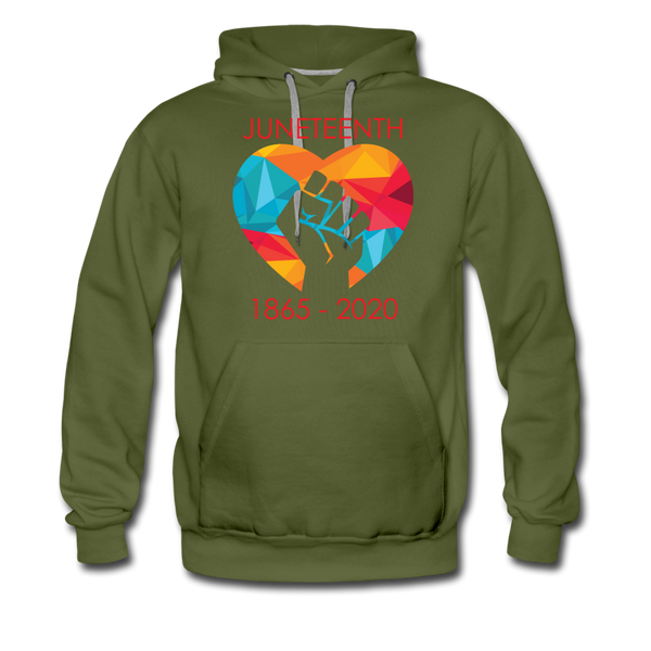Juneteenth Heart Fist Men's Premium Hoodie **LIMITED EDITION** - olive green
