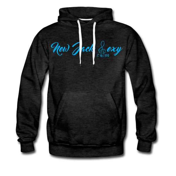 New Jack Sexy Men's Premium Hoodie (Blue Letters) - charcoal gray