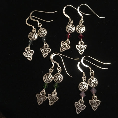 Earrings - Knot and Triskele with Swarovski Crystal
