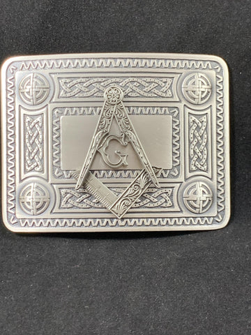 Masonic Belt Buckle with Celtic Knot Boarder