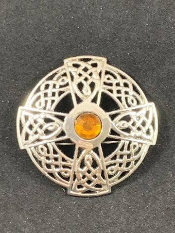 "Brooch - 2"" Cross with Celtic Braid and Amber Center Stone"