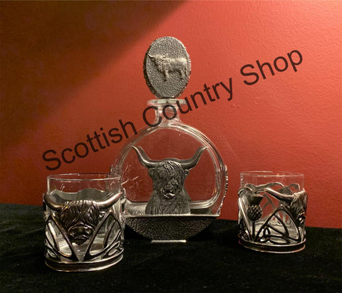 Highland Cow Decanter with Tumblers