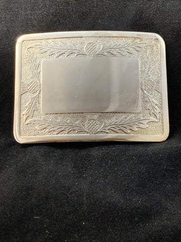 Buckle Thistle Border Open Square Silver Plate