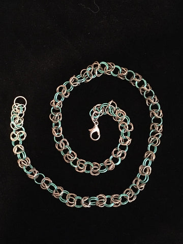 Necklace Chain Maille Byzantine Weave Silver & Sea Green